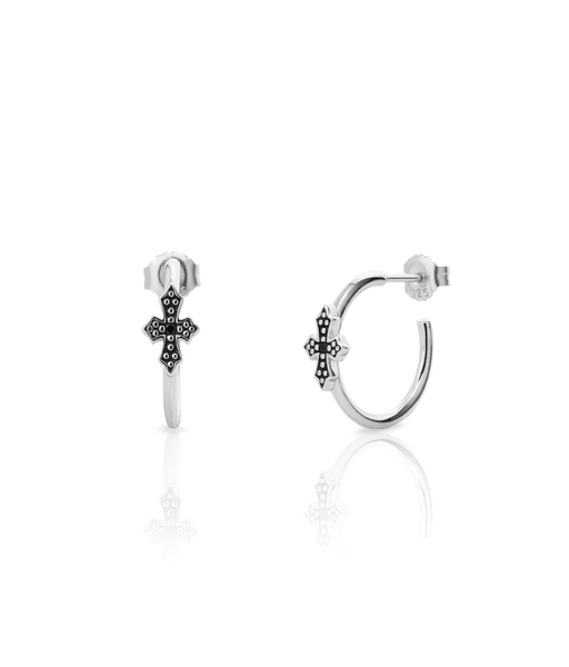 Pendientes MINI BLACK CROSS plata