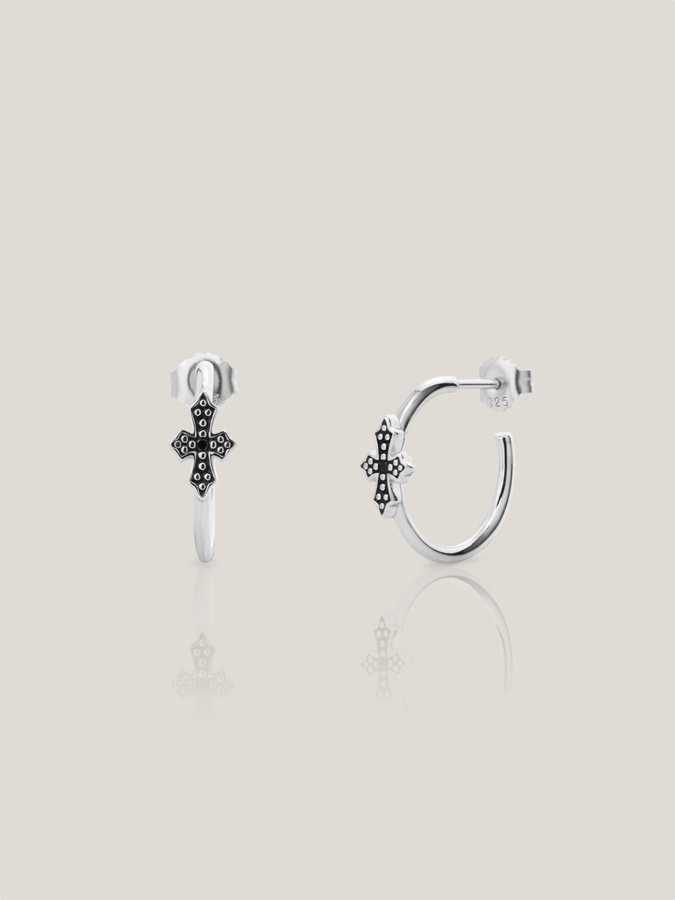 Pendientes mini black cross 20 silvr2