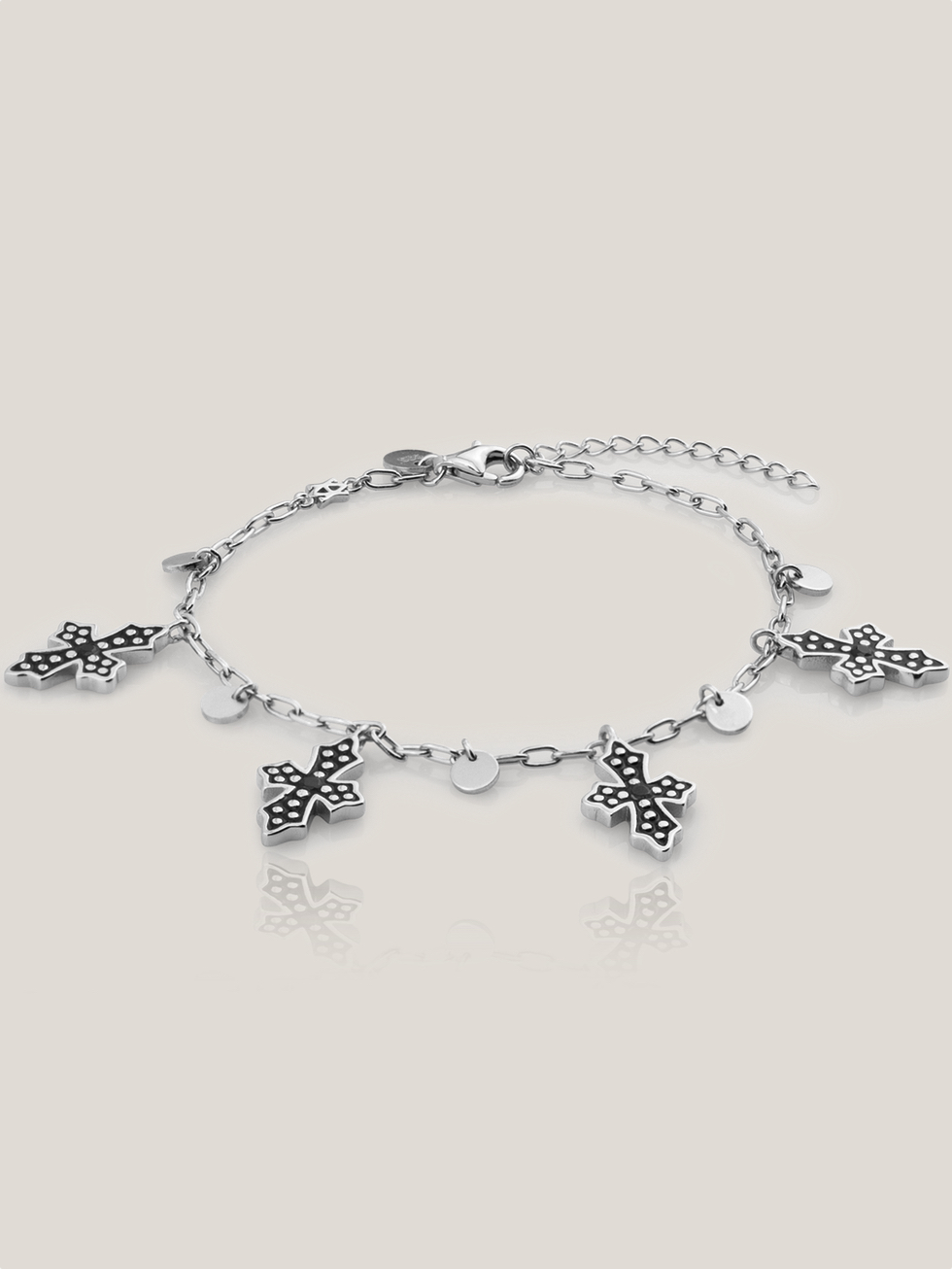 Bracelet black cross  silver2