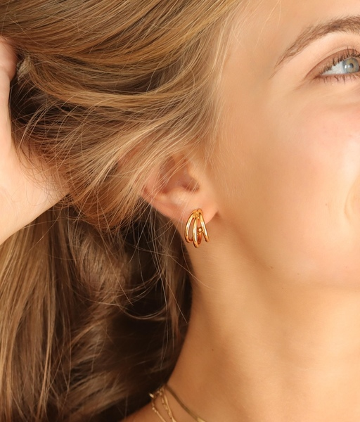 Boucles d'oreilles TRIPLE HOOP or