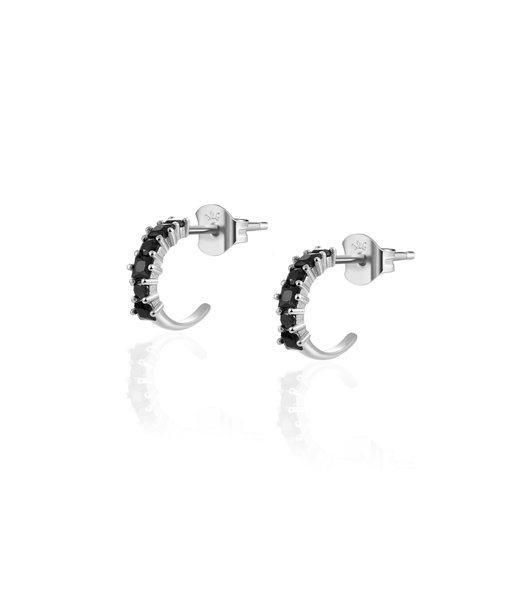BLACK CIRCUS silver hoop earrings