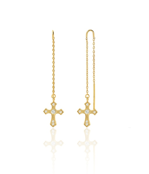 THE CROSS gold earrings