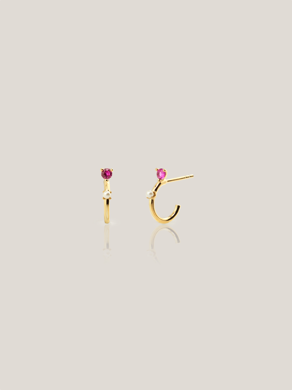PINK LADY gold hoops earrings