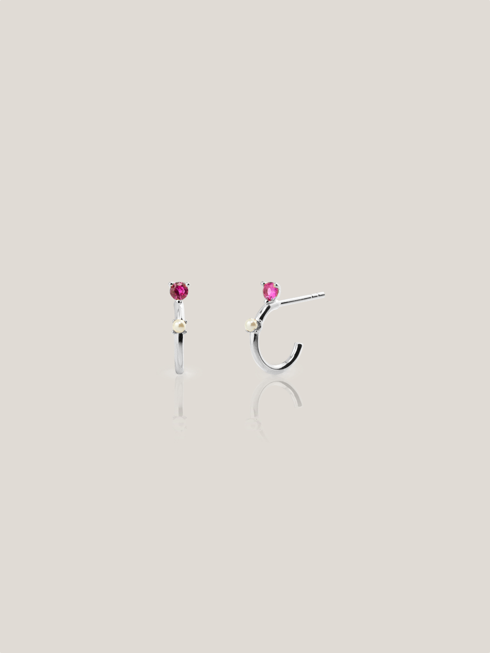 PINK LADY silver hoops earrings