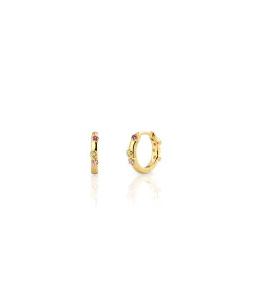 MINI AQUAREL PINK gold earrings