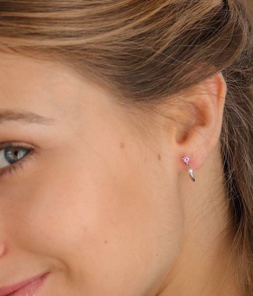 Boucles d'oreilles PINK LADY argent