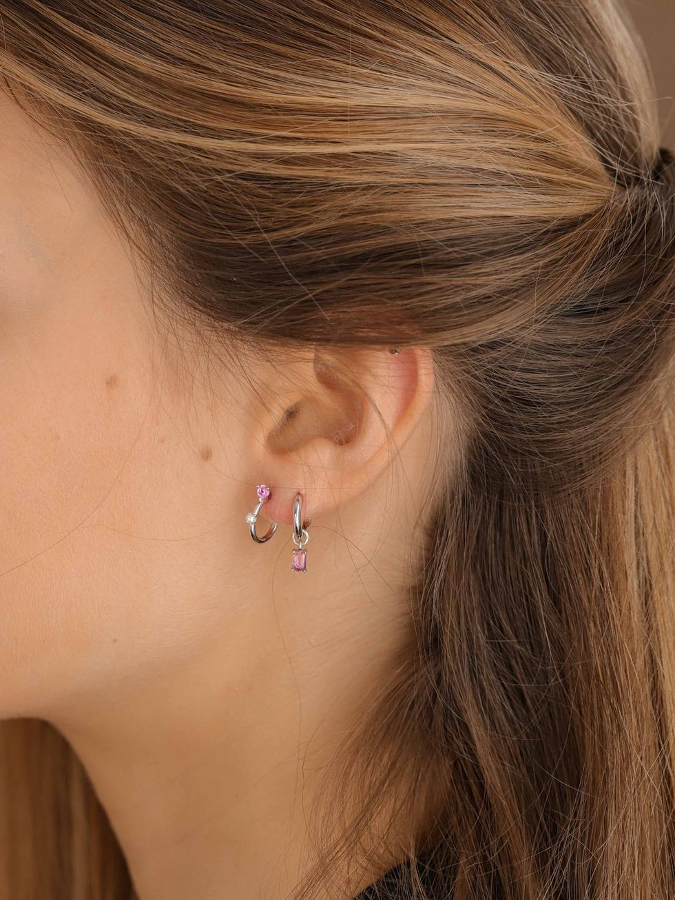 Pink LILY silver hoops earrings