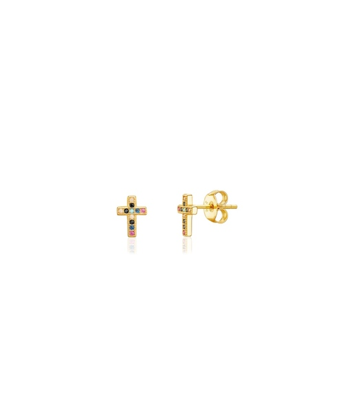 Mini cruz colores gold earrings