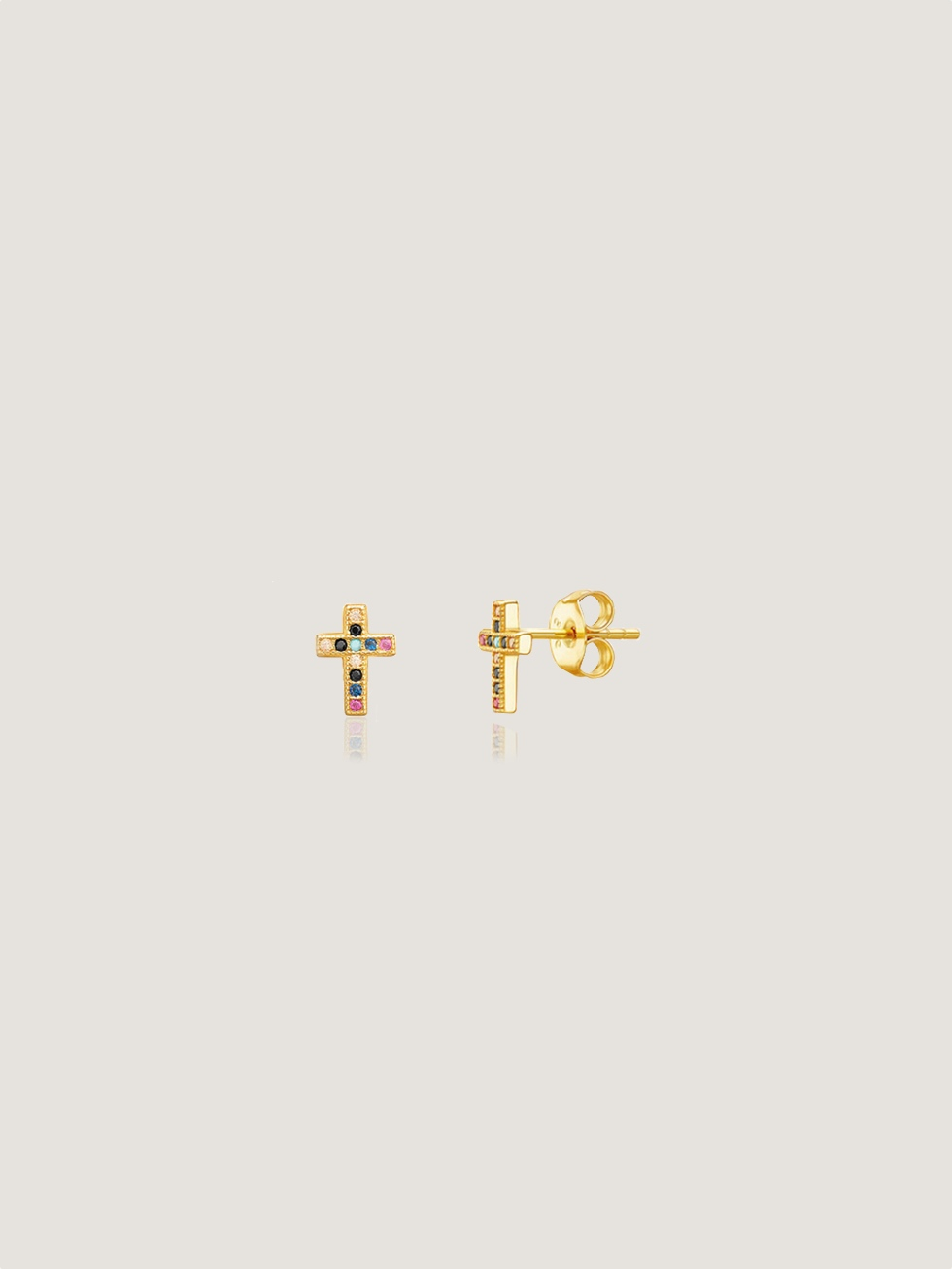 Pendientes cruz color oro2