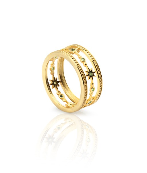 WIDE STARS gold ring