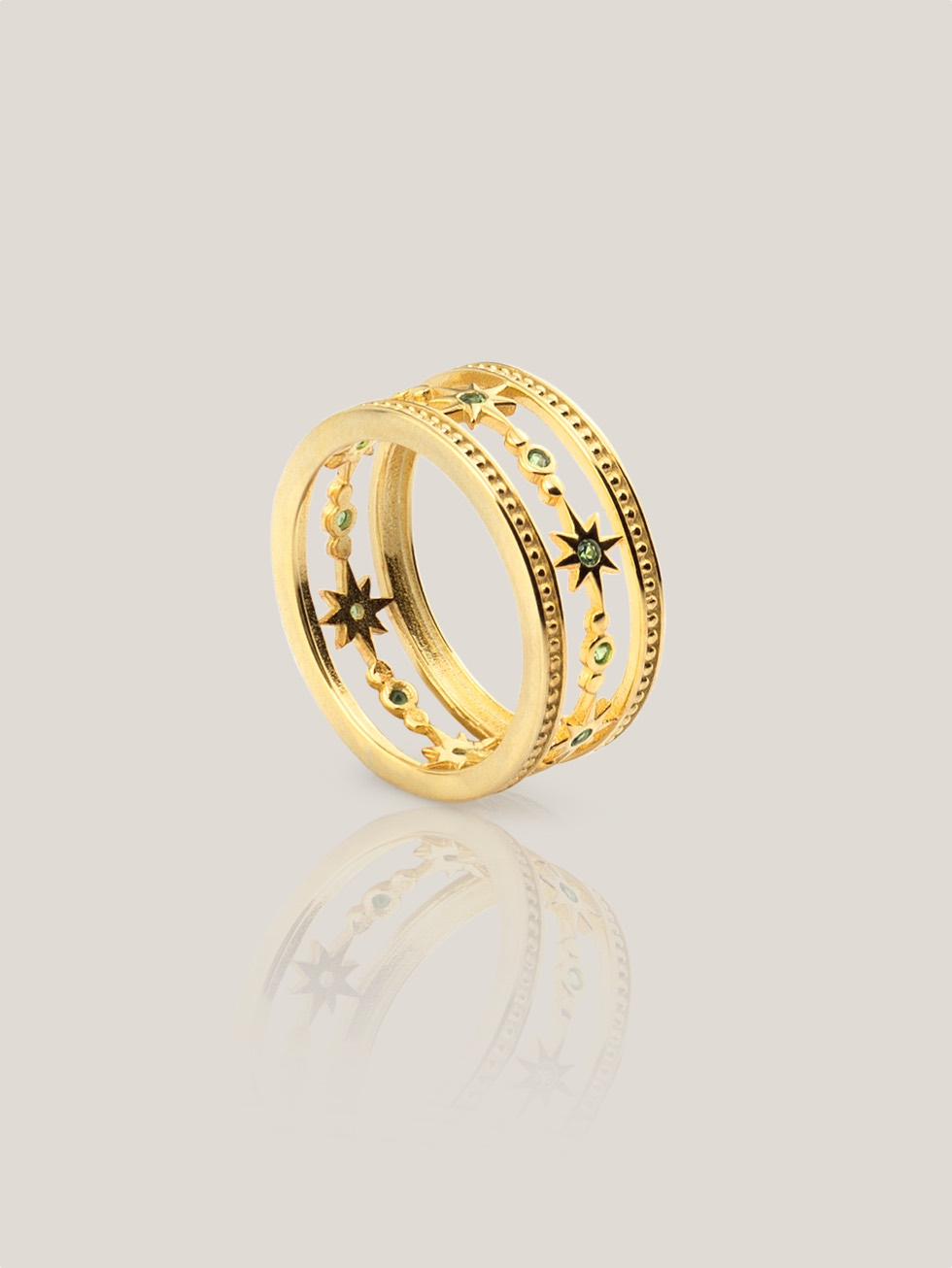 Anillo wide stars gold2
