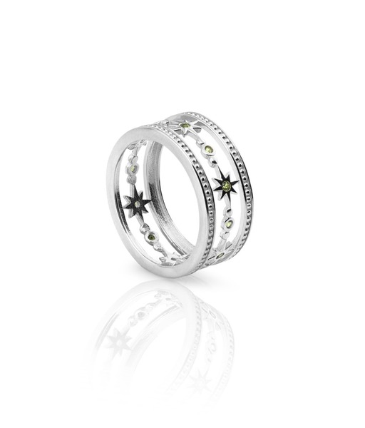 WIDE STARS silver ring