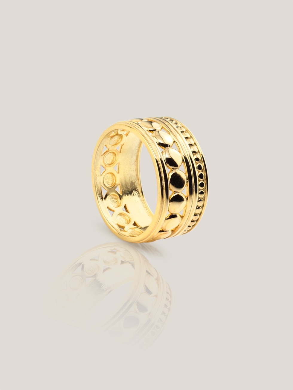 Anillo wide balls gold2