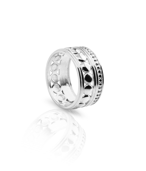 WIDE BALLS silver ring