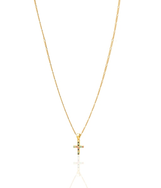 Multicolors cross gold necklace