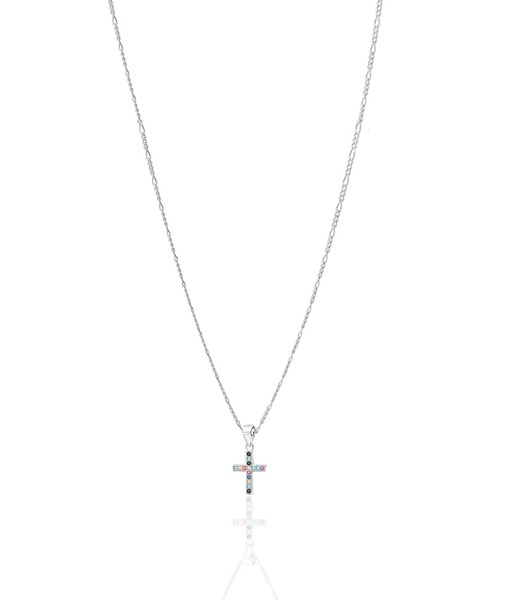 Multicolors cross silver necklace