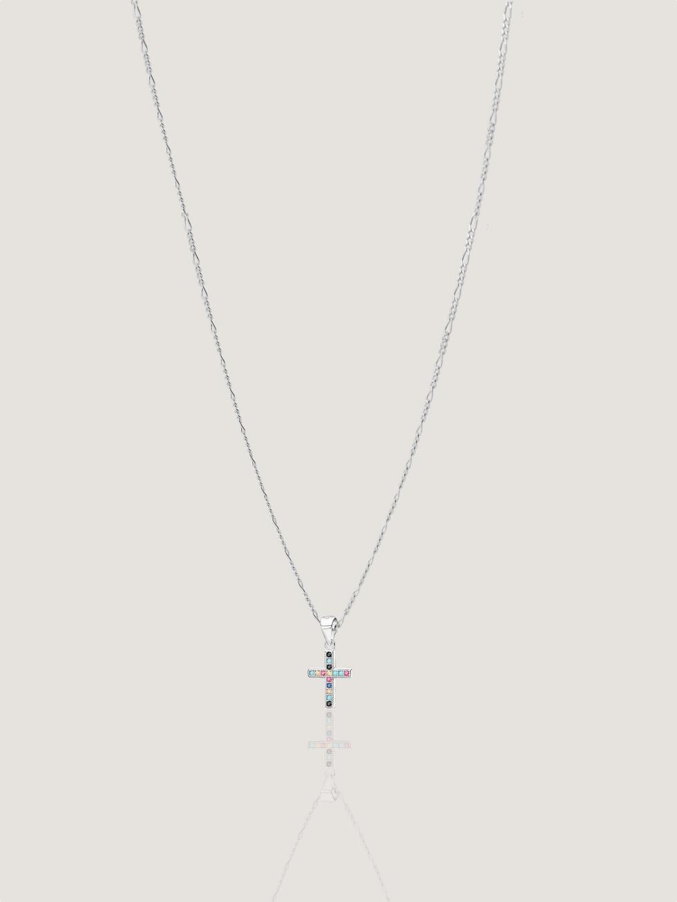 Collar mini cruz colores silver2