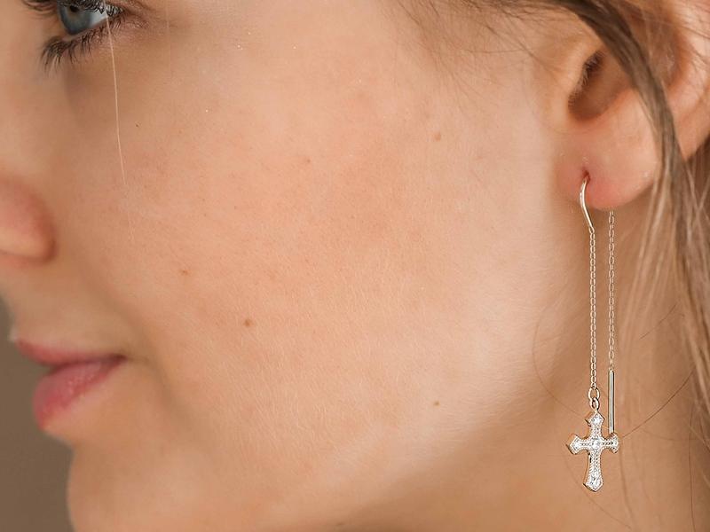 THE CROSS gold earrings