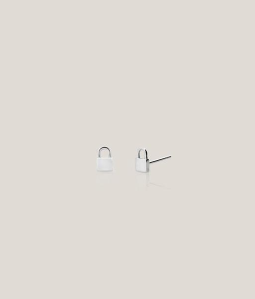 PIN PADLOCK silver stud earrings
