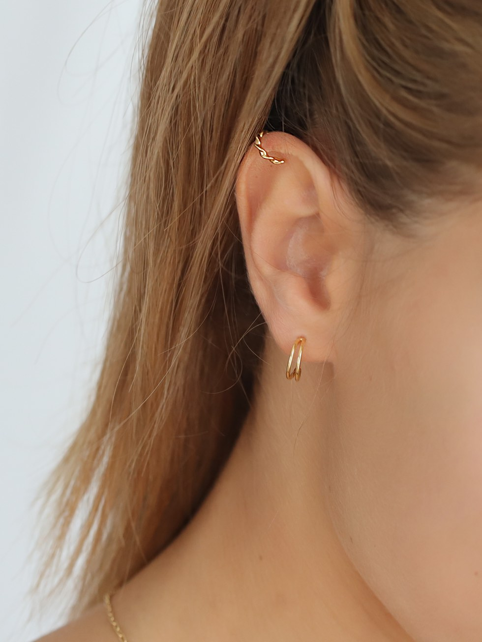 Pendientes twisted ear cuff gold mod