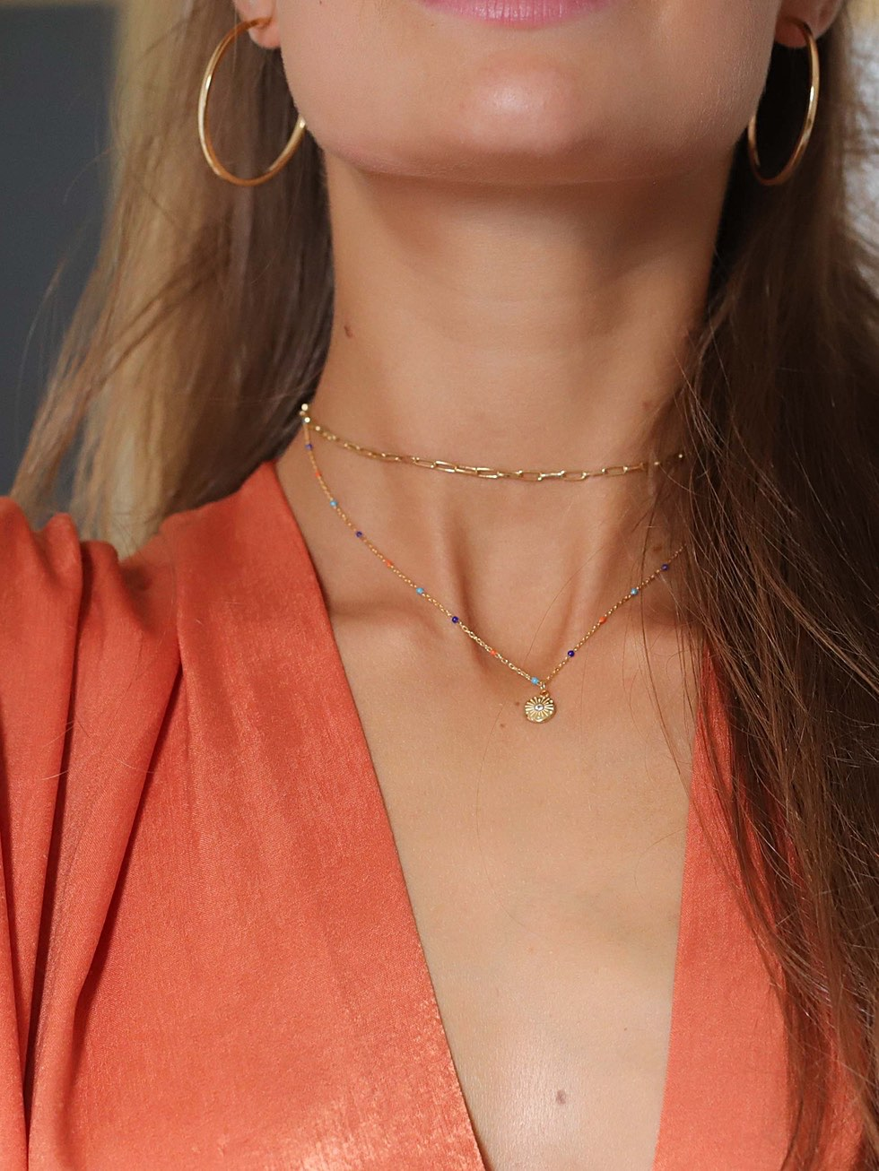 THIN choker gold necklace