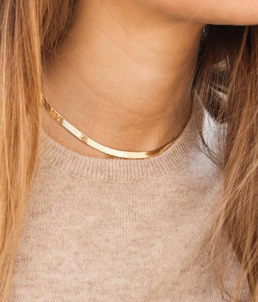 THICK SNAKE gold necklace