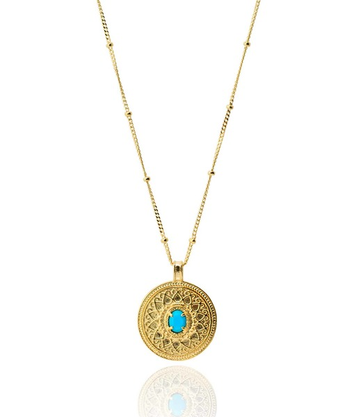 BLUE COIN gold Necklace