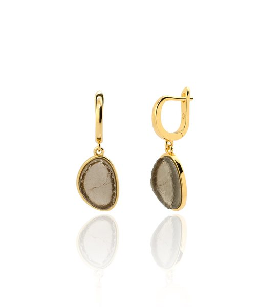 SMOKY quartz gold hoop earrings