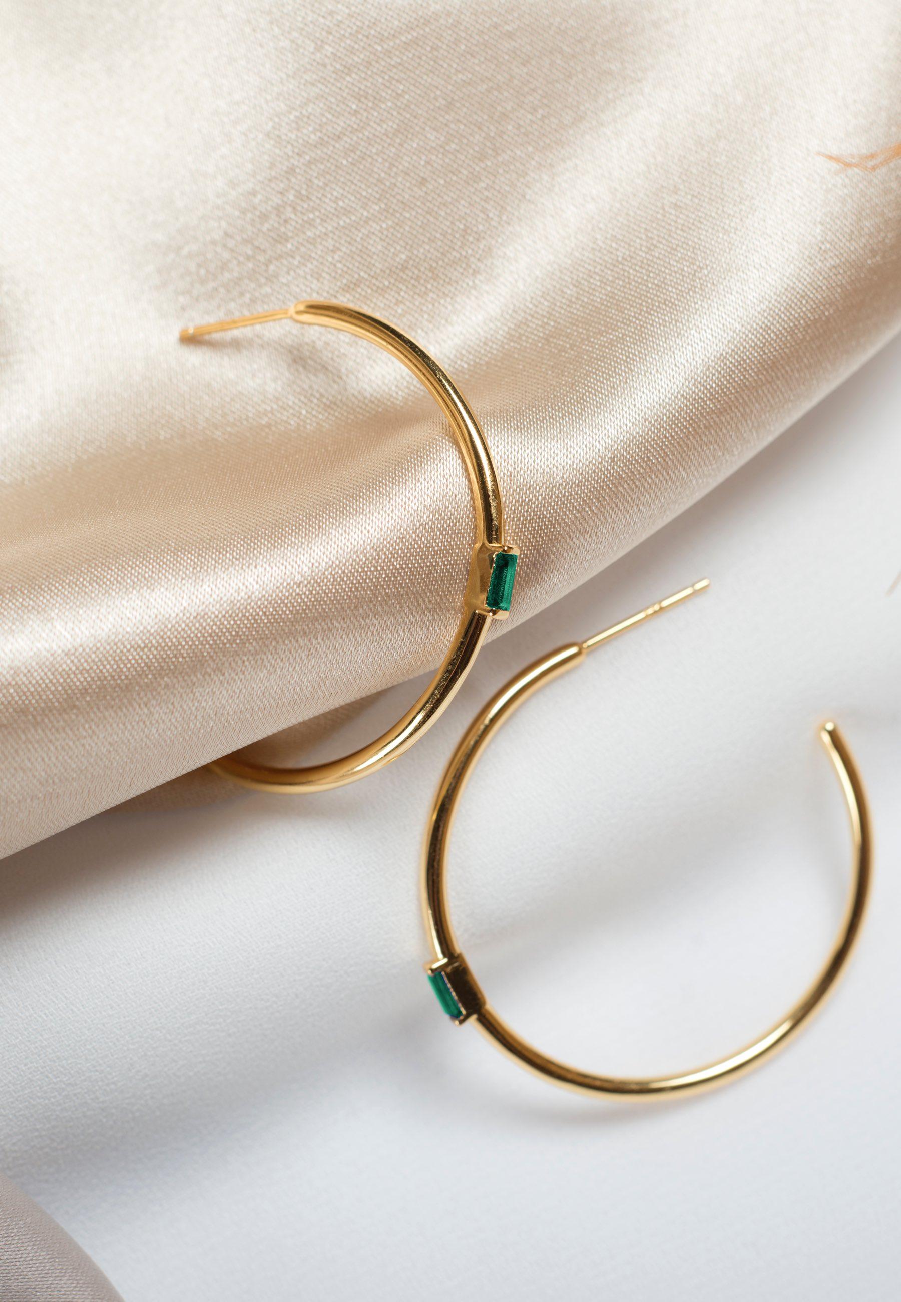 Pendientes esmeralda oro za 02