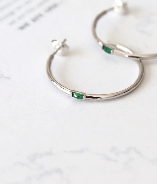ESMERALDA Silver hoops earrings