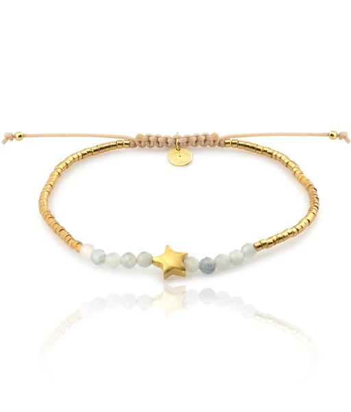 AMAZONITA ESTRELLA gold bracelet