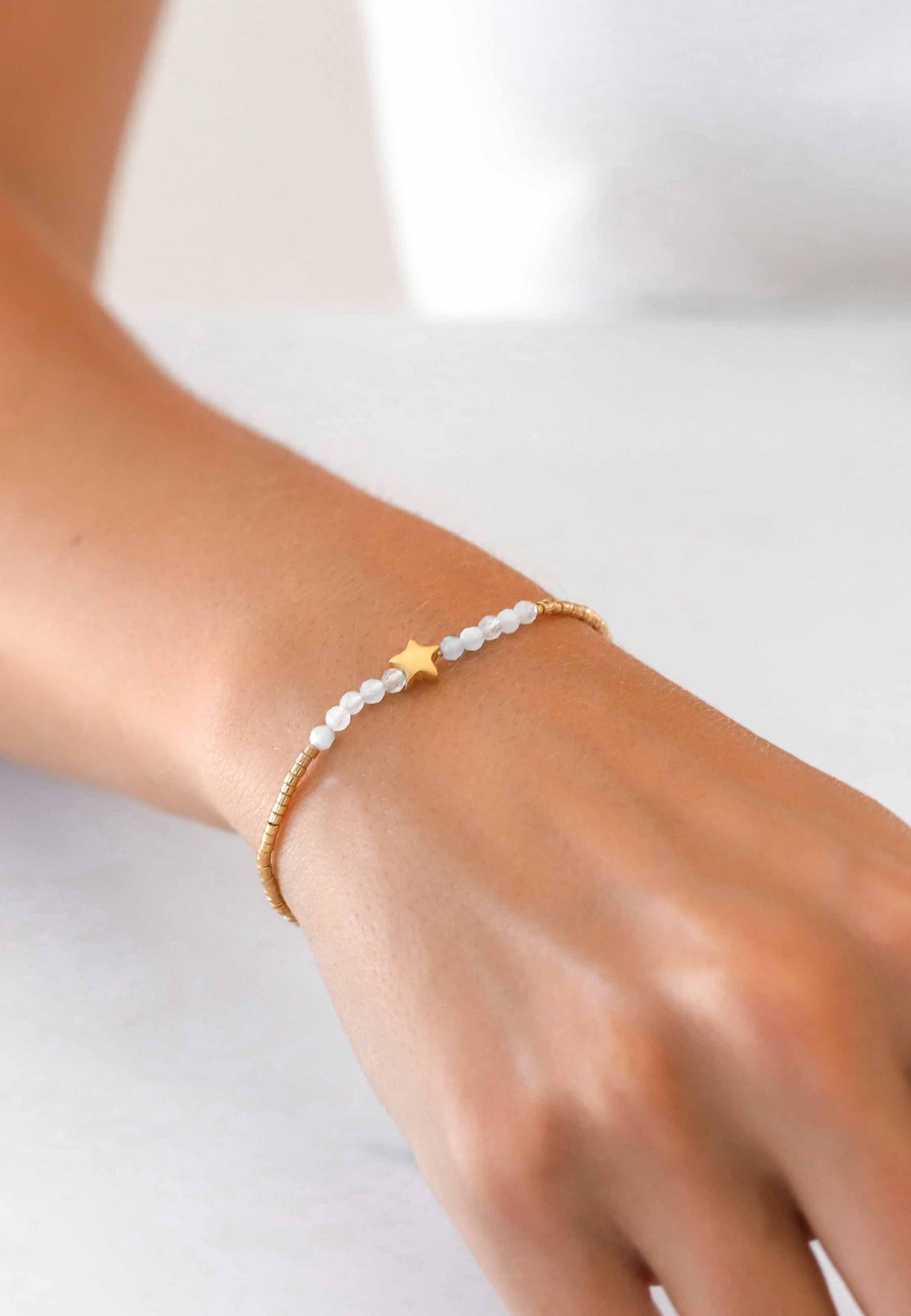 Pulsera estrella amazonita oro 02za