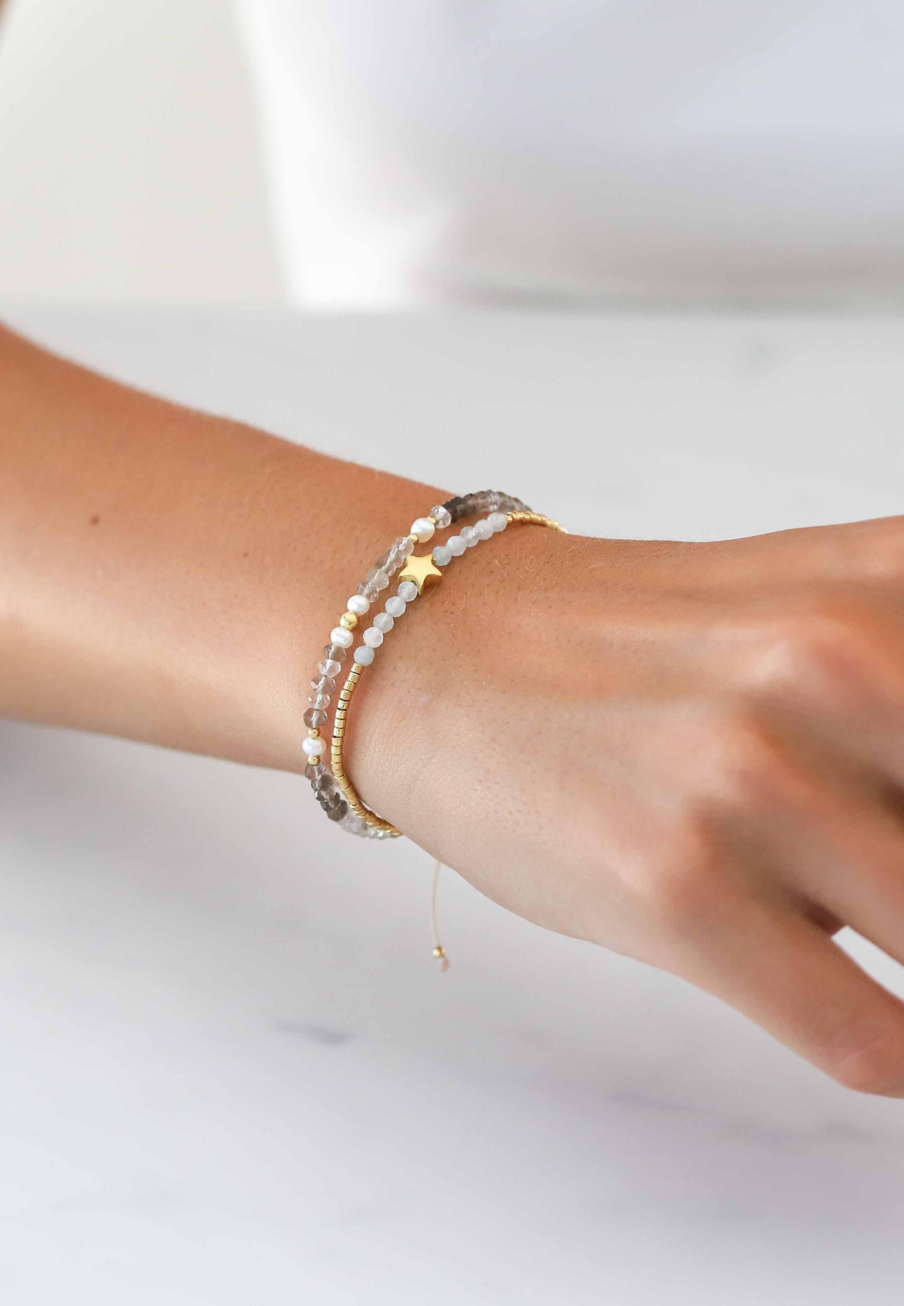 Pulsera perlitas cuarzo oro 03za