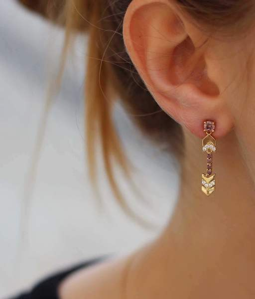 EMERALD BROWN gold earrings