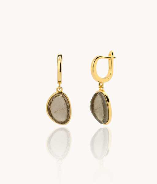 SMOKY quartz gold hoop earrings