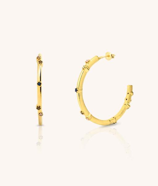BIG AQUAREL gold hoop earrings
