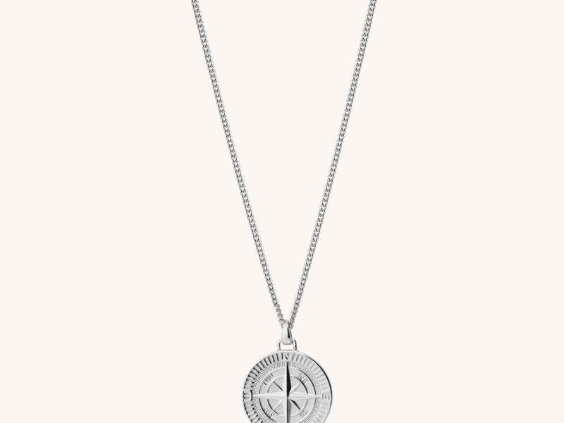 COMPASS collar brújula plata Man