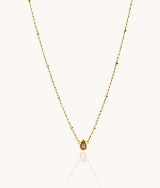 LABRADORITE DROP gold necklace