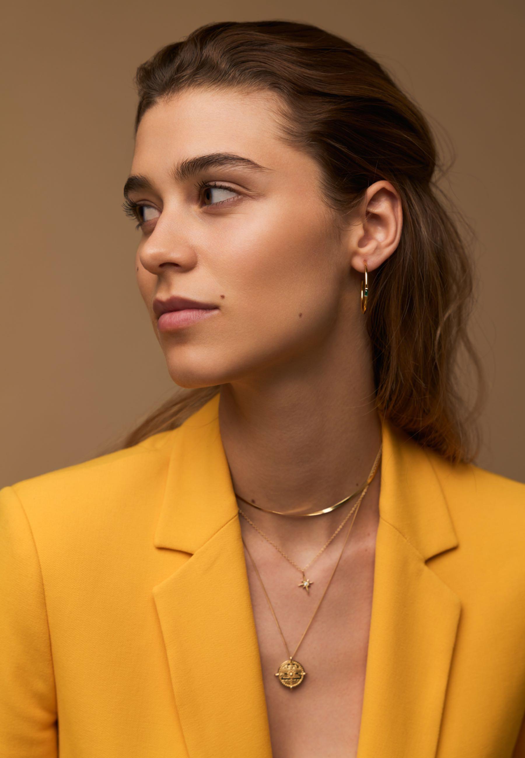 Pendientes aros esmeralda oro