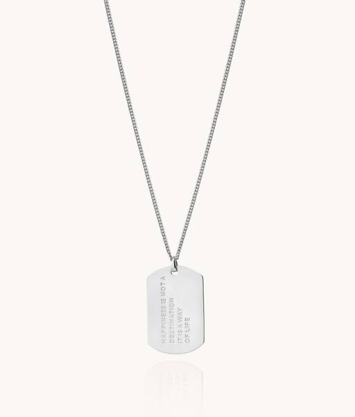 HAPPINESS Collar Medalla militar para hombre en plata de ley