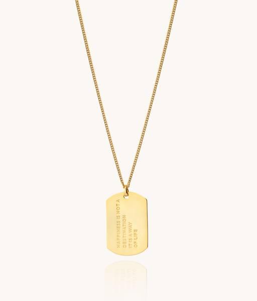 HAPPINESS Collar Medalla militar para hombre oro