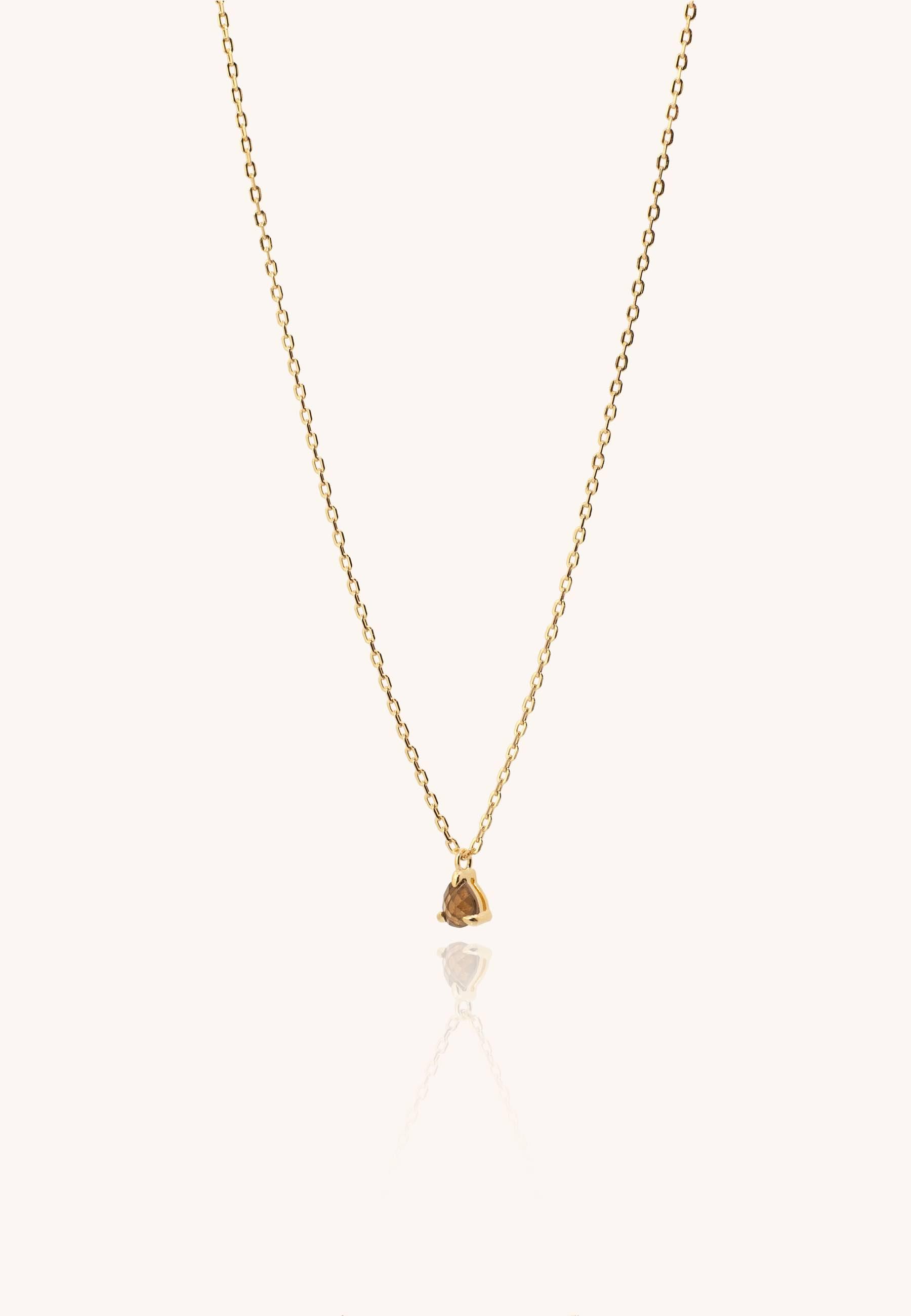 Collar lagrima cuarzo oro 2