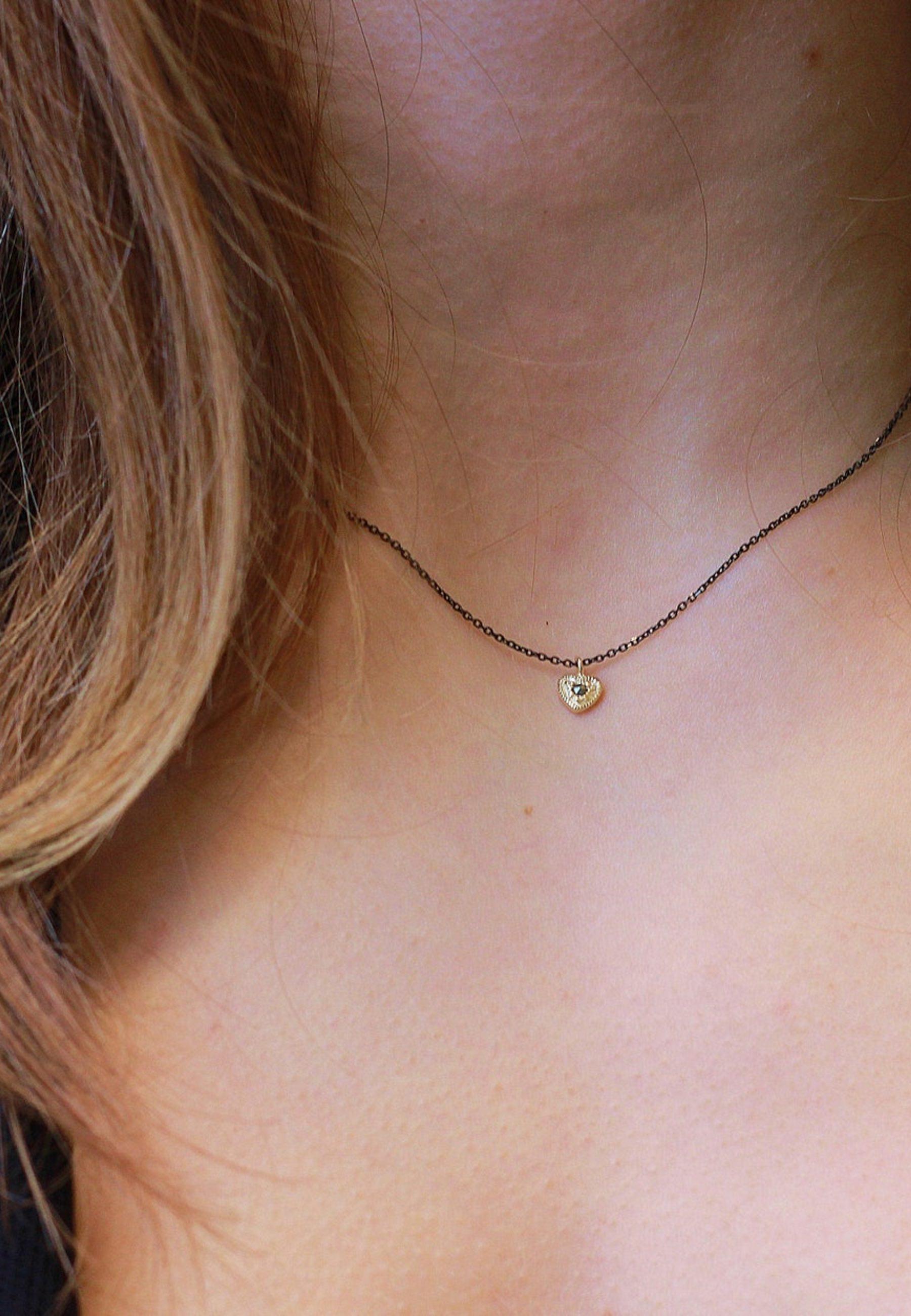 Collar corazon piedra marcasite oro detalle mod2