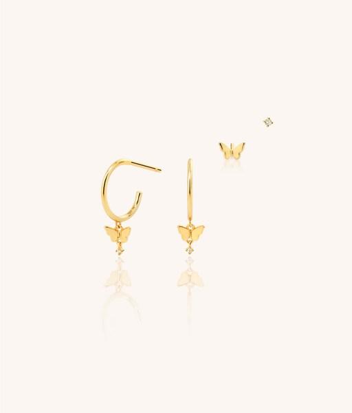 Boucles d'oreilles dorées CZ BUTTERFLY SET