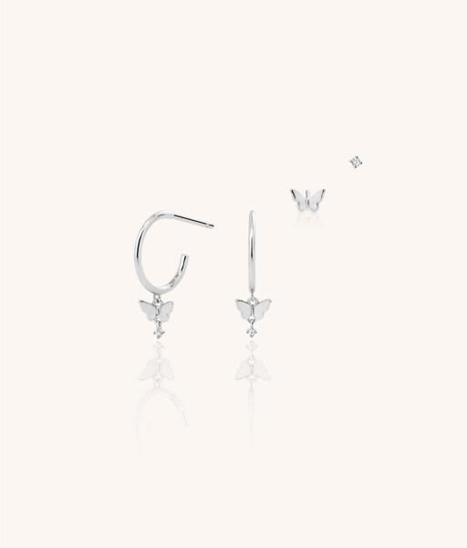 Silver CZ BUTTERFLY SET earrings