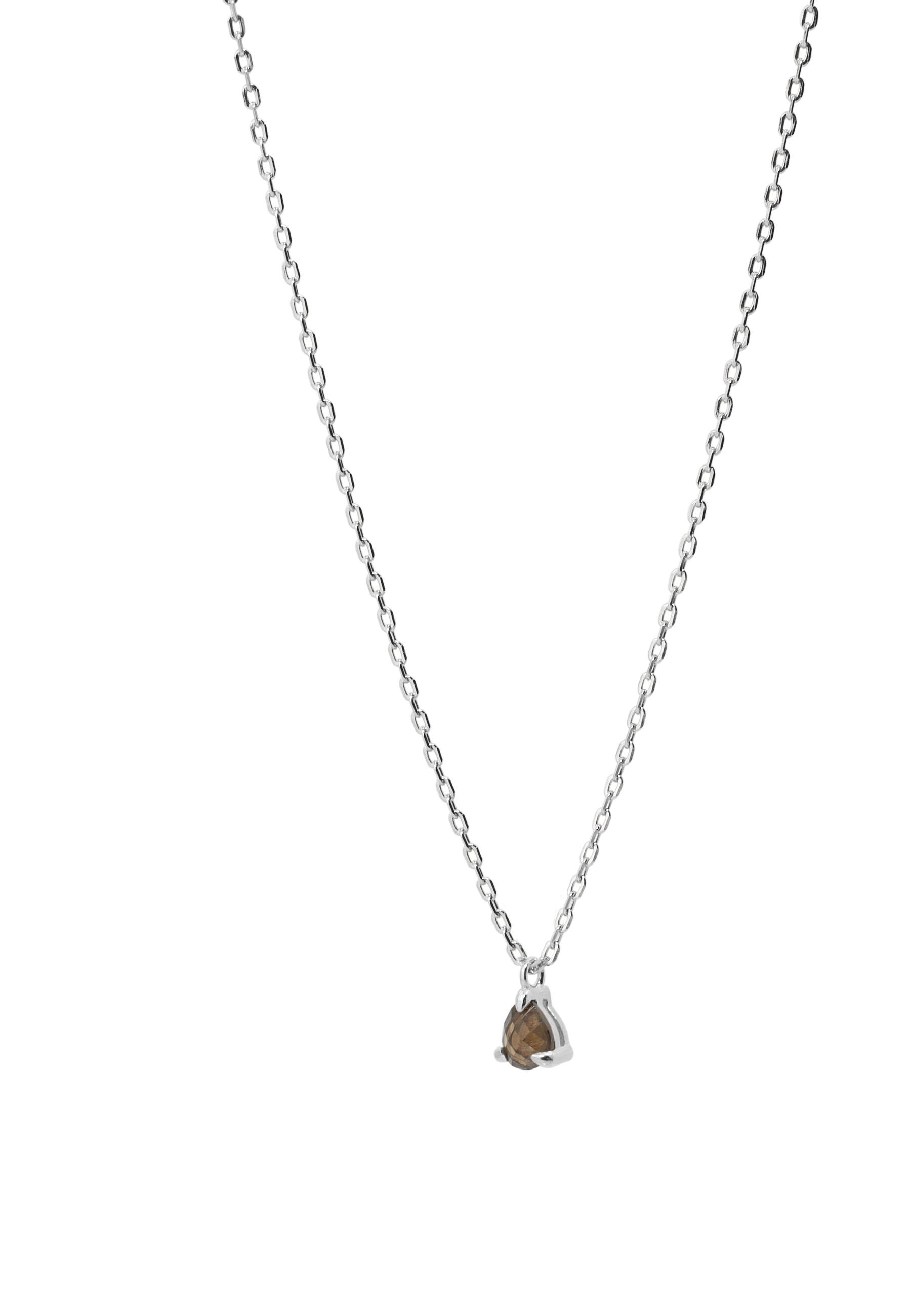 Collar lagrima cuarzo plata detalle