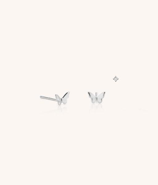 Stud butterly silver earrings