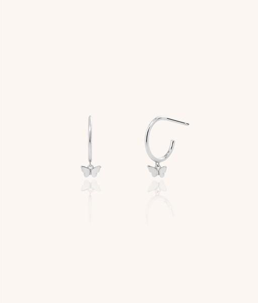 BUTTERFLY 14mm silver hoop earring