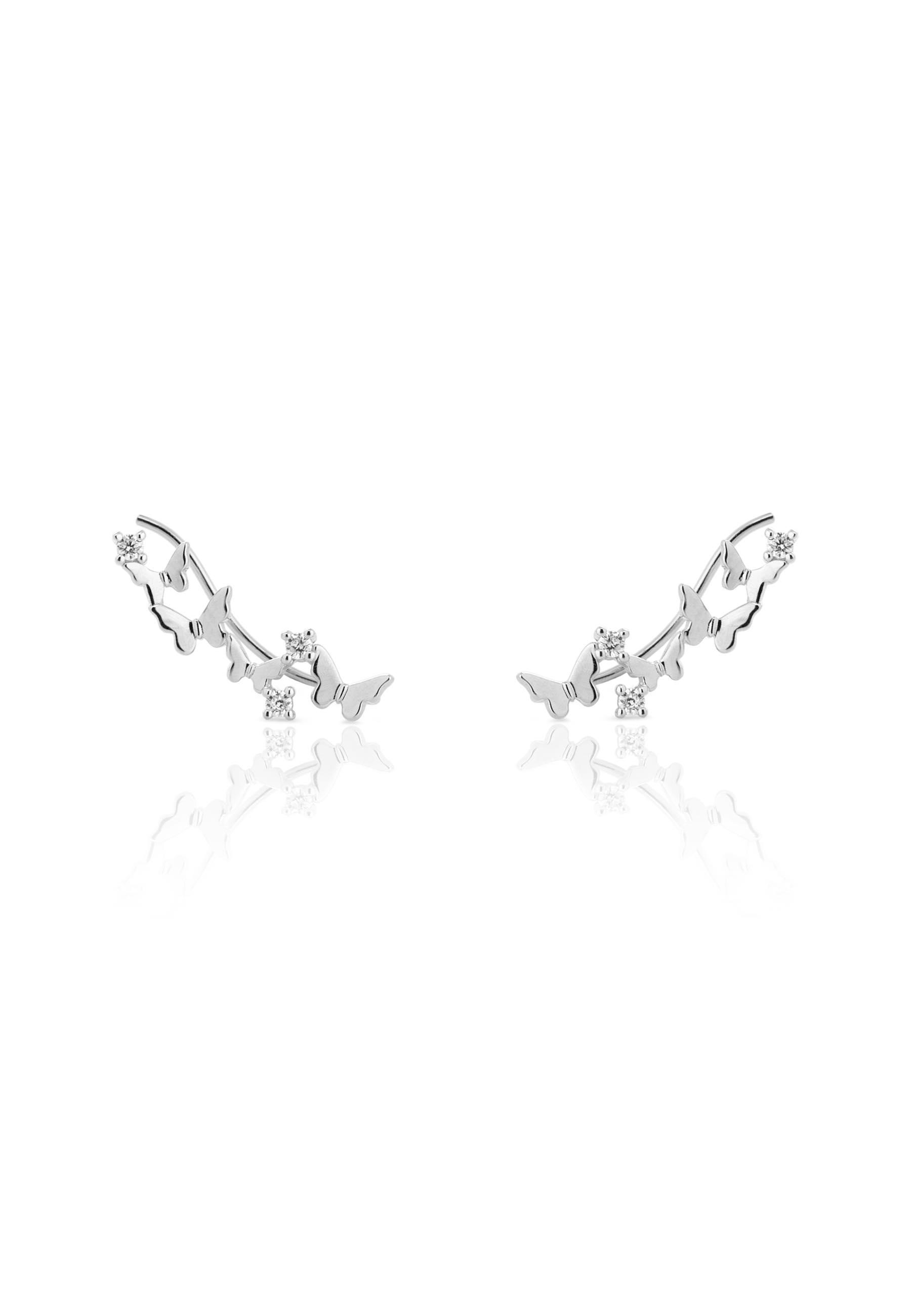 Pendientes trepadores mariposa plata 0