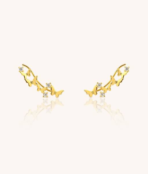 Gold BUTTERFLY ear climbers